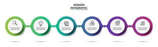 Cirkelbeståndsdelar av grafen, diagrammet med 6 moment, alternativ, delar eller processar Mall för infographic, presentation vektor illustrationer
