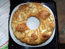 Cirkelchala in de vorm van kroon, met appelen en kaneel - variatie op Rosh-Ha-shana traditioneel voedsel stock foto's
