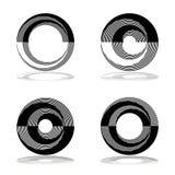 Cirkeldesignbeståndsdelar inställda abstrakt symboler Stock Illustrationer