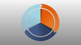 Cirkeldiagram drie de grafiek van de resultaatcategorie en drie pijlvakje voor presentatie Power Point-malplaatje royalty-vrije illustratie