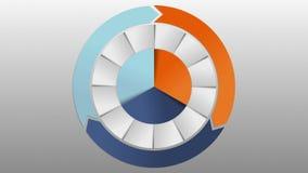 Cirkeldiagram drie de grafiek van de resultaatcategorie voor presentatie versie 2 Power Point-malplaatje vector illustratie