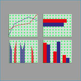 Cirkeldiagram för stång för prick för beståndsdelar för marknad för affärsdata diagrams Arkivfoto