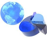 Cirkeldiagram met Aarde Royalty-vrije Stock Afbeelding