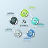 Cirkeldiagram met 5 ronde die elementen door lijnen en tekstvakjes worden verbonden, moderne infographic ontwerplay-out royalty-vrije illustratie