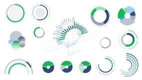 Cirkeldiagram och diagram på den vita bakgrunden