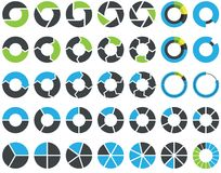 Cirkeldiagrammen en infographic cirkelgrafiek - Stock Afbeelding