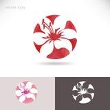 Cirkelembleem met bloem, lelie op een rode achtergrond stock illustratie