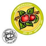Cirkeletiket met appel op taketiket Stock Fotografie