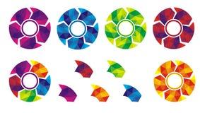 Cirkeletiketter eller etikett med färgrik form Arkivbild