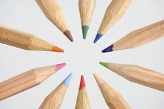 cirkelfärg pencils trä Arkivfoton