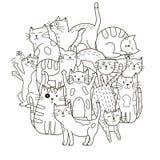 Cirkelformmodell med gulliga katter för färgläggningbok Fotografering för Bildbyråer
