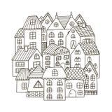 Cirkelformmodell med hus för färgläggningbok stock illustrationer