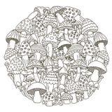 Cirkelformmodellen med fantasi plocka svamp för färgläggningbok Royaltyfri Foto