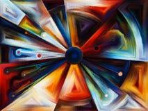 Cirkelgebrandschilderd glasontwerp stock illustratie