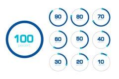 Cirkelgrafiek, grafiek Vlak Ontwerp Geplaatste percentagemalplaatjes Royalty-vrije Stock Foto's
