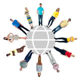 cirkelgruppen för bakgrund 3d isolerade objektfolk som plattforer vitt Arkivbild