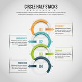 Cirkelhalvan staplar Infographic Arkivfoto