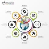 Cirkelinfographics Bedrijfsconcept met creatieve wereld Royalty-vrije Stock Afbeeldingen