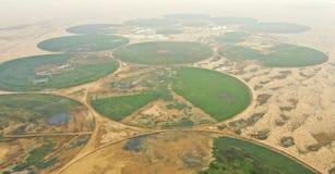 Cirkelirrigatiesysteem in de woestijn royalty-vrije stock foto's