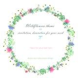 Cirkelkader, kroon van gele wildflowers, de klaverbloemen en het gras Royalty-vrije Stock Foto's