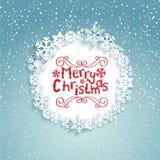 Cirkelkader met sneeuwvlokken Royalty-vrije Stock Afbeelding
