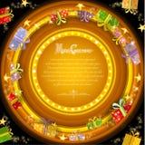 Cirkelkader op de oranje achtergrond van de Kerstmistunnel met gouden sterren en huidige dozen Stock Afbeelding