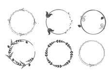 Cirkelkaders Kronen voor ontwerp, embleemmalplaatje stock illustratie