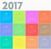 Cirkelkalender för 2017 år stock illustrationer
