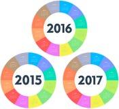 Cirkelkalender för 2015 2016 2017 år stock illustrationer