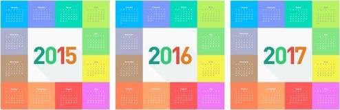 Cirkelkalender för 2015 2016 2017 år vektor illustrationer