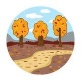 Cirkellägen, litet landskap (höstdagen i träna) Arkivbilder
