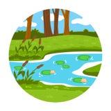 Cirkellägen, litet landskap (sommardammet i träna) Fotografering för Bildbyråer