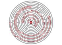 Cirkellabyrintsamenvatting, logicaraadsel, weg aan het doel Stock Foto's