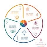 Cirkellijnen Infographic Vijf Posities Stock Foto