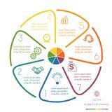 Cirkellijnen Infographic Zeven Posities Royalty-vrije Stock Afbeeldingen