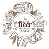 Cirkelmalplaatje met bierpictogrammen Royalty-vrije Stock Foto