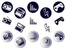 Cirkelmassmediasymboler Arkivfoto