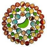 Cirkelmodell av färgrika genomskinliga exponeringsglasmarmor som isoleras på Royaltyfri Bild