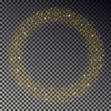 Cirkeln av guld blänker gnistrandevektorn Runda för stjärnadamm, ljus effekt bakgrundsbokehmusik bemärker tematiskt Xmas-stjärnor royaltyfri illustrationer