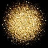 Cirkeln av guld mousserar, den ljusa designen för magiskt glöd för garnering Malldesign för det nya året, julen och ferierna Royaltyfria Bilder