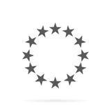 Cirkeln av guld- stjärnor på en vit bakgrund Arkivfoton