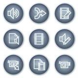 cirkeln för ljudsignalknappar redigerar mineralisk video rengöringsduk för symboler Arkivbilder