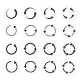 Cirkeln förnyar uppsättningen för pilar för vektorn för tillbakalägganderotationsöglan royaltyfri illustrationer