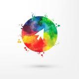 Cirkeln ner för insidan för symbolen för pilen för vattenfärgen för vektorregnbågen befläcker bläckar den grungy med målarfärg oc stock illustrationer