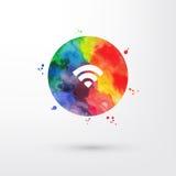 Cirkeln ner för insidan för symbolen för wifien för vattenfärgen för vektorregnbågen befläcker bläckar den grungy med målarfärg o vektor illustrationer