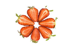 cirkeln skivar jordgubben Royaltyfri Bild