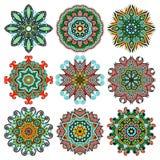 Cirkeln snör åt prydnaden, runt dekorativt geometriskt Fotografering för Bildbyråer