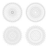 Cirkelontwerpmalplaatjes Ronde decoratieve patronen Reeks van creatieve die Mandala op wit wordt geïsoleerd Royalty-vrije Stock Afbeelding