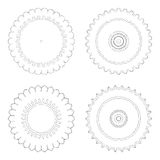 Cirkelontwerpmalplaatjes Ronde decoratieve patronen Reeks van creatieve die Mandala op wit wordt geïsoleerd Royalty-vrije Stock Fotografie