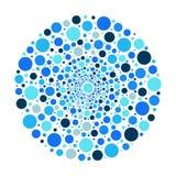 Cirkelornament, blauw bellen vectorpatroon Royalty-vrije Stock Afbeelding